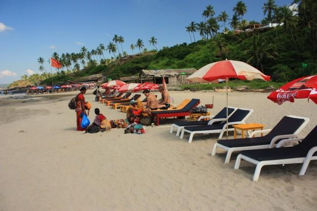 Русские в Гоа на пляже Вагатор